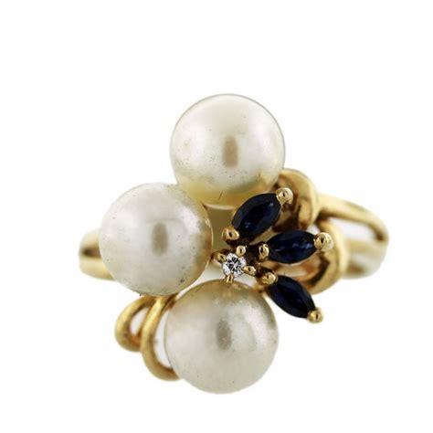 14k yellow gold pearl sapphire ring boca raton