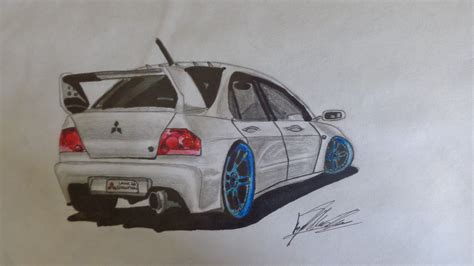 mitsubishi evo drawing mitsubishi lancer evolution drawing car drawings