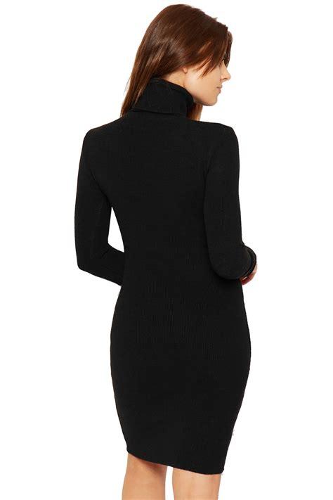 Sleeve Plain Polo Dress womens polo neck mini dress knitted bodycon stretch