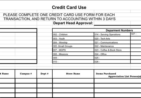 Credit Card Excel Template Credit Card Reconciliation Form Churchtecharts