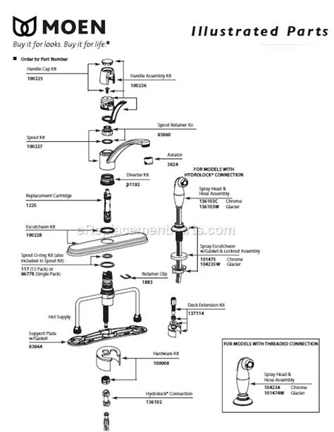 moen single handle kitchen faucet parts diagram moen 87581 parts list and diagram ereplacementparts com