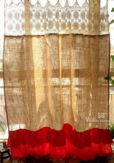 rustic orange curtains cream hand crochet shabby rustic chic burlap shower
