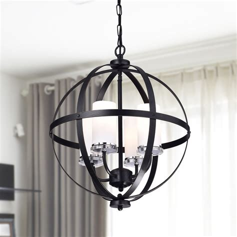 modern chandelier lighting globe 4 lights iron ceiling