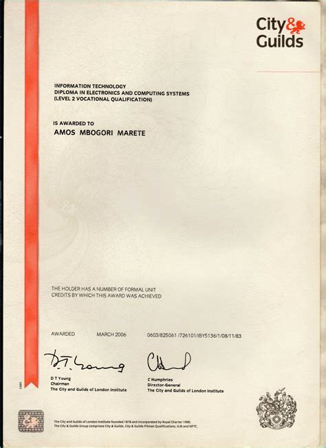 city and guilds certificate template electrical diploma certificate sle choice image