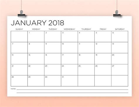 calendar template instant  thin sans serif type monthly printable