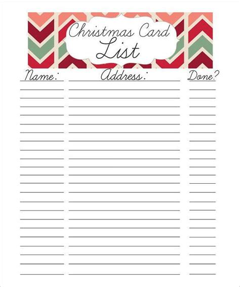printable christmas card list template 27 christmas gift list templates free printable word
