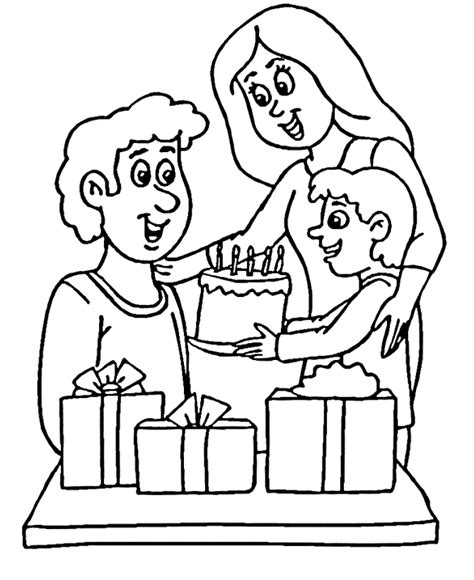 Father S Day Coloring Pages Family Giving Dad Presents Family Day Coloring Pages