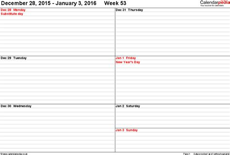 daily planner template 2016 pdf weekly calendar 2016 uk free printable templates for pdf