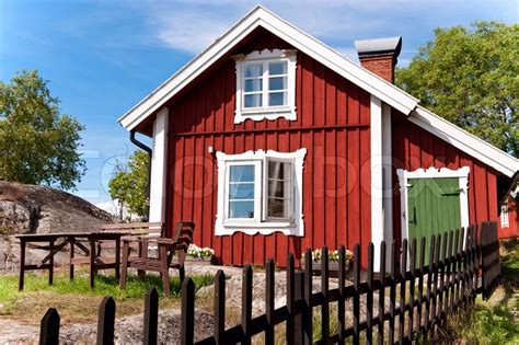 scandinavian houses red summer scandinavian house stock photo colourbox