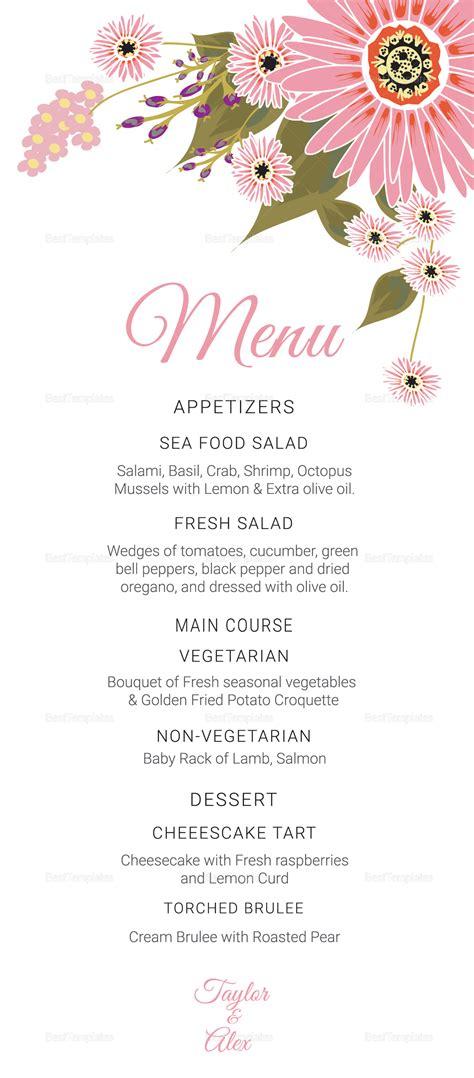 Publisher Menu Card Templates by Floral Wedding Menu Card Design Template In Illustrator