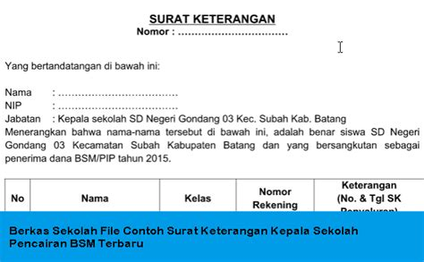 berkas sekolah file contoh surat keterangan kepala sekolah