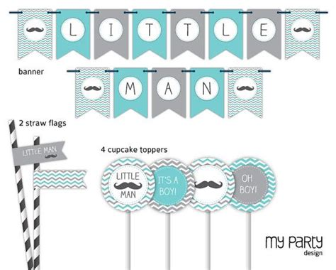 printable mustache birthday banner little man baby shower party mustache party pack
