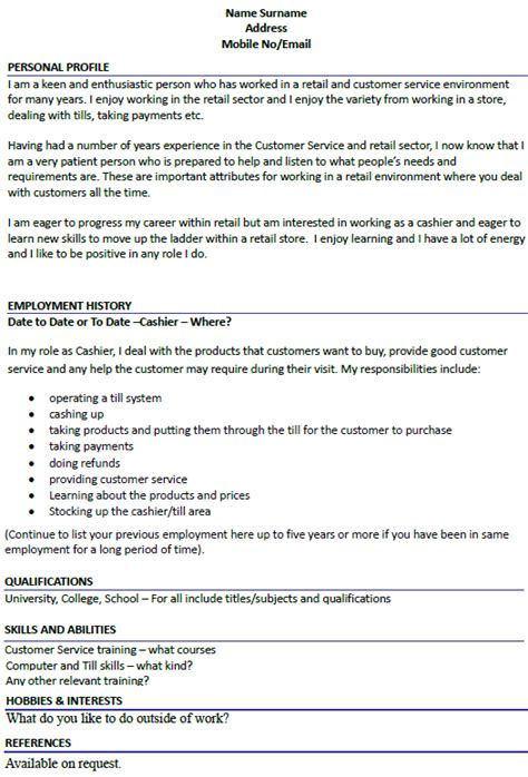 Cashier Job Description Resume Sample by Cashier Cv Example Icover Org Uk