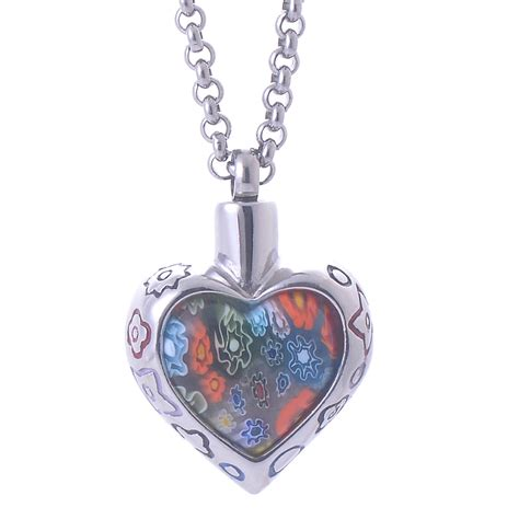 flower patch memorial pendant stainless steel