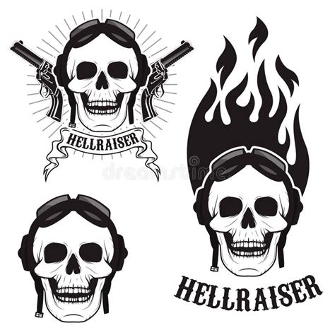 T Shirt Hellraisers Y skull in motorcycle helmet with hellraiser skull