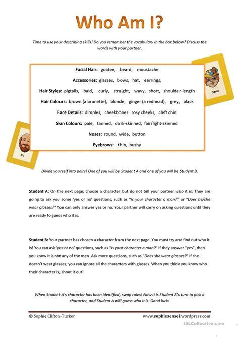 who am i worksheet who am i worksheet free esl printable worksheets made by teachers