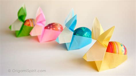 make an origami rabbit as an easter egg holder