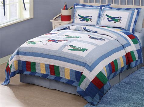 fly away plane airplane theme blue boys bedding twin quilt