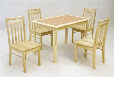 Rubber Wood Dining Table Wooden Dining Table And 4 Chairs Solid Rubberwood With Tiled Top