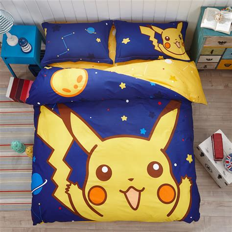 Boys Girls Pikachu Bedding Set Child Twin Queen Christmas