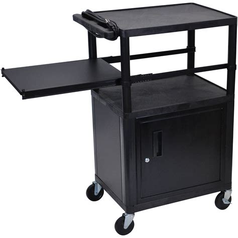 luxor cart with locking cabinet luxor lp42cpe b presentation cart with locking cabinet