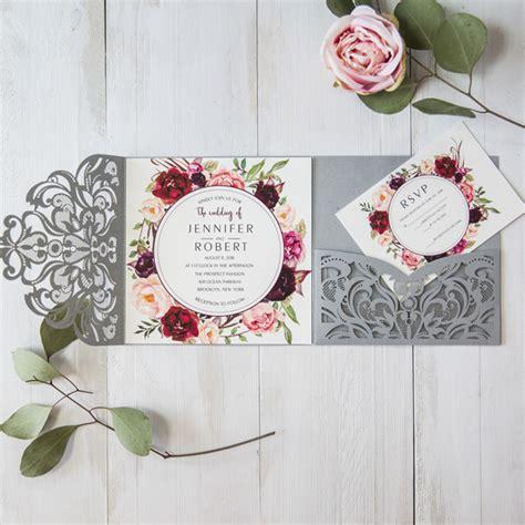 Wedding Invitations Burgundy by Silver Laser Cut Burgundy Floral Wedding Invitations