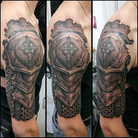 tattoo shoulder knight realistic shoulder knight armor tattoo for men