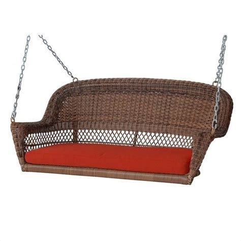 wicker outdoor swing jeco honey wicker porch swing w red cushion ebay