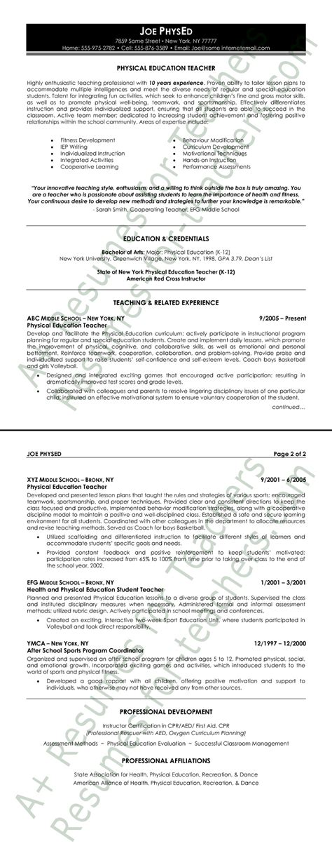 physical education resume exles physical education resume sle