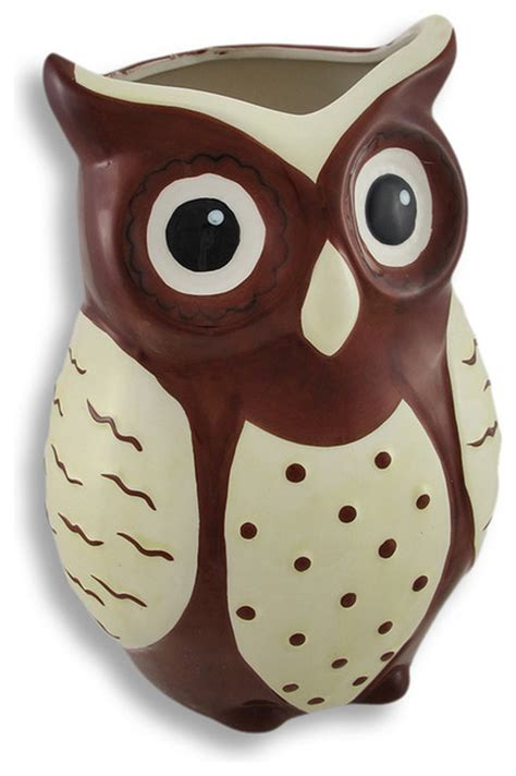 White Owl Vases by Brown And White Ceramic Owl Vase Tropical Vases By
