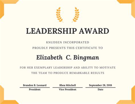 Certificate Design For Leadership | trophy leadership award certificate templates by canva