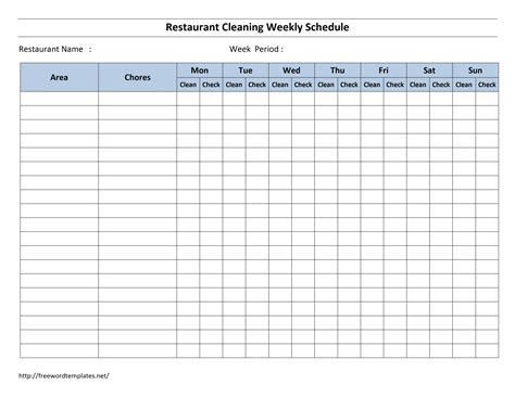 Blank Cleaning Schedule Template hotel room cleaning schedule template free microsoft
