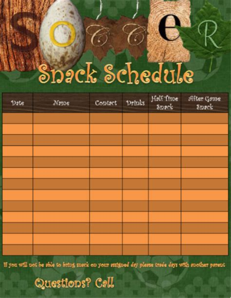 snack schedule template for sports youth sufficient likeness