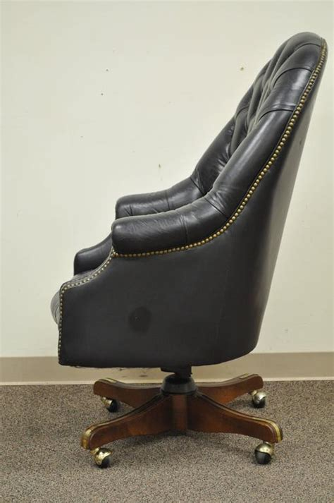 vintage tufted leather office chair vintage tufted black leather chesterfield