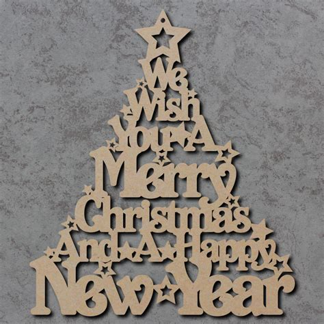 merry christmas tree sign wooden laser cut mdf craft