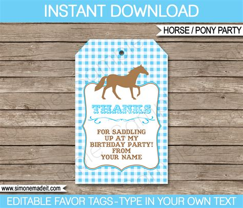 printable horse name tags pony or horse birthday party favor tags thank you tags