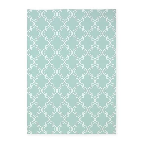 Light Teal Moroccan Quatrefoil 5 X7 Area Rug By Hhtrendyhome