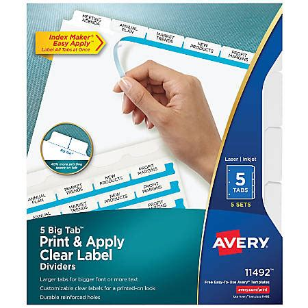 Avery Big Tab Print Apply Clear Label Dividers With Index Maker Easy Apply Printable Label Strip Easy Apply Label Strips For Avery Index Maker Template