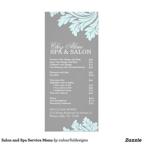 Spa Menu Template Google Search Spa Ideas Pinterest Spa Menu And Spa Salon Service Menu Template
