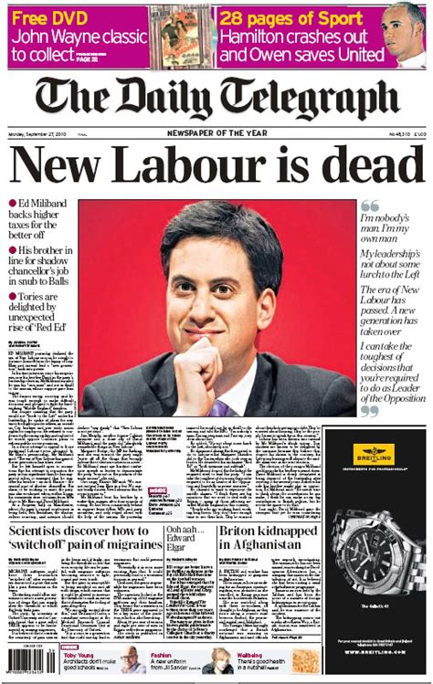 The Sunday Telegraph 2 by United Kingdom Will Miliband Bury The Blair Legacy