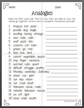 Analogies Review Tpt Free Lessons 6th Grade Ela 4th