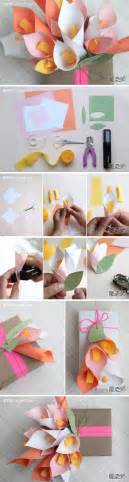 Paper Craft Work Step By Step - how to make calla bouquet gift package paper craft step by
