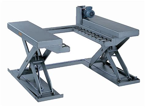 stainless steel pallet lifter with powered conveyor custom