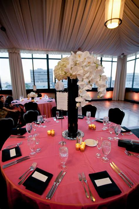 coral and black wedding decorations