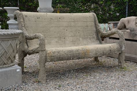 antique french faux bois concrete bench with arms