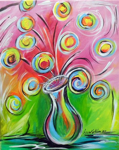 whimsical acrylic painting ideas original modern whimsical flowers acrylic by