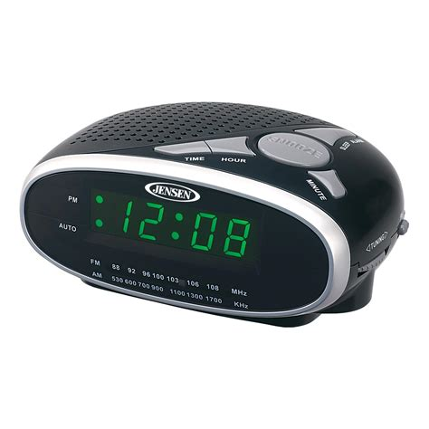 jcr175 am fm alarm clock radio with 0 9 inch green led display home audio