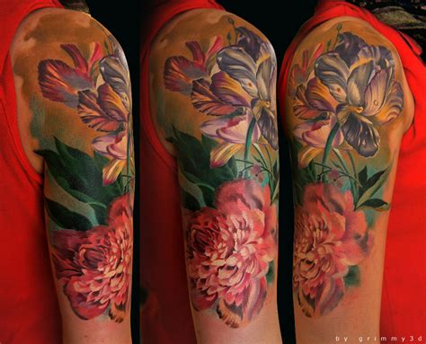 watercolor tattoo flower sleeve flowers sleeve 2nd sitting by grimmy3d on deviantart
