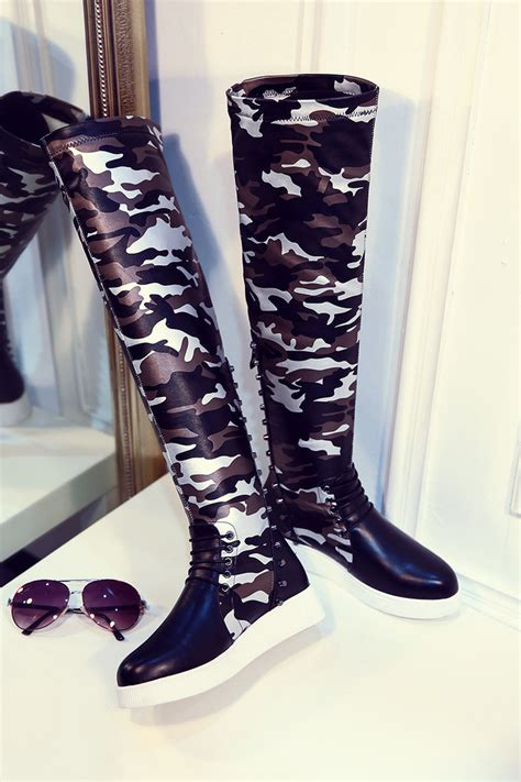 fashion camouflage knee high boots rivets wedge