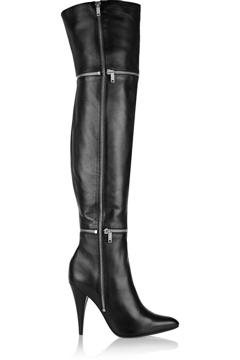 Embellished Leather Boots laurent embellished leather thigh boots in black lyst